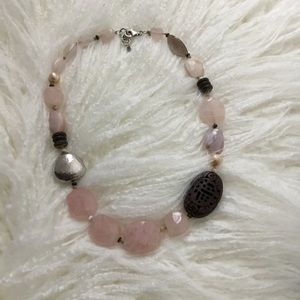 "Silpada 18"" Sterling Silver Rose Quartz Necklace"